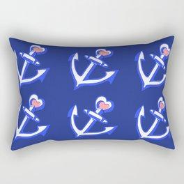 Navy Blue Heart Anchors Pattern Rectangular Pillow