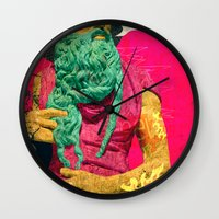 attack on titan Wall Clocks featuring Titan by Alec Goss