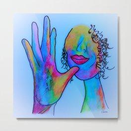 ASL Mother in Blue Overtones Metal Print