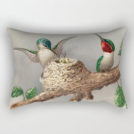 Hummingbirds & Chicks Nesting portrait nature painting Rectangular Pillow