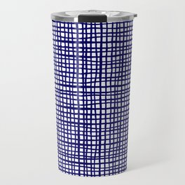 Grid indigo blue bold dramatic modern minimal abstract painting lines gridded pattern print minimal Travel Mug