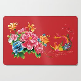 chinese peonies and phoenix Cutting Board