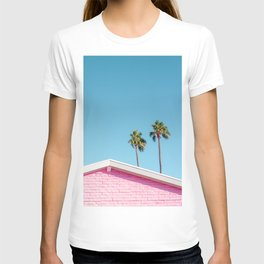 Pink House Roofline with Palm Trees (Palm Springs) T-shirt