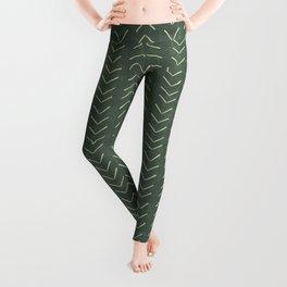 Mudcloth Big Arrows in Leaf Green Leggings