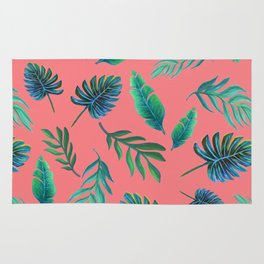 Coral tropical palm leaves Rug