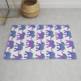 Follow The Leader - Painted Elephants in Royal Blue, Purple, & Mint Rug