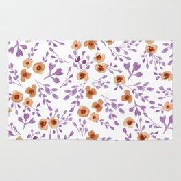 Prairie Flowers - Watercolor Floral Purple Copper Brown Rug