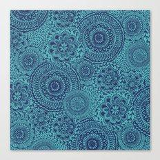 Tossed Blue mandalas Canvas Print