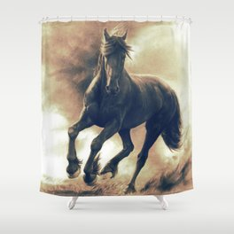 Horse in Storm - GRAPHITE DRAWING Shower Curtain