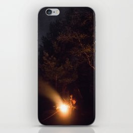 Night by campfire iPhone Skin