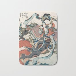 Mystical Bird by Katsushika Hokusa Bath Mat