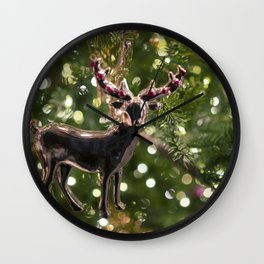Christmas Tree Deer Photography Poster Wall Clock