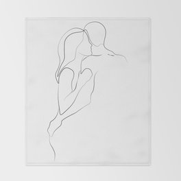 Lovers - Minimal Line Drawing Art Print3 Throw Blanket