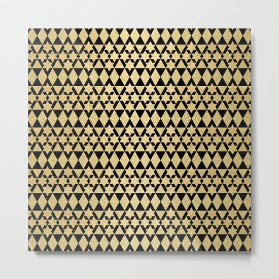 Black and Gold Geometric Pattern 4 Metal Print