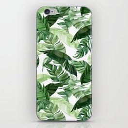Green leaf watercolor pattern iPhone Skin