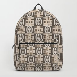 Ethnic african tribal pattern with Adinkra symbols. Backpack