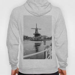 Iconic mill 'The Adrian' IV in black and white in Haarlem alongside a frozen Spaarne canal | Ice skating | Reflections | Architectural fine art print Hoody