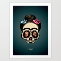 frida Art Prints featuring Frida by mangulica illustrations