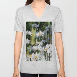 A Garden of White Daisy Flowers Unisex V-Neck