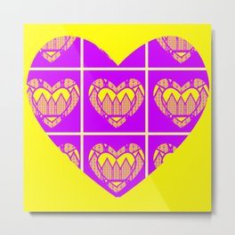 Purple and Yellow Patterns and a Heart Metal Print