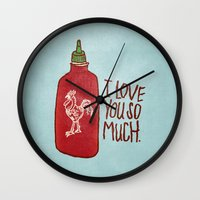 sriracha Wall Clocks featuring TRUE LOVE by Josh LaFayette