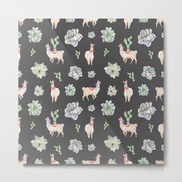 Cute Llamas & Amaryllis Floral Pattern Metal Print