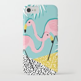 Bro - wacka design memphis throwback minimal retro hipster 1980s 80s neon pop art flamingo lawn iPhone Case