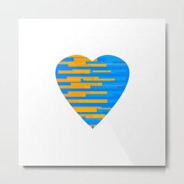 Glitching Hearts — Blue and Orange Metal Print