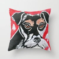 schnauzer Throw Pillows featuring Schnauzer by Mandarin Duck Craft