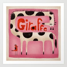 GIRAFFE IN PINK Art Print