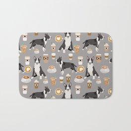 Bull Terrier coffee latte cafe dog breed cute custom pet portrait pattern Bath Mat
