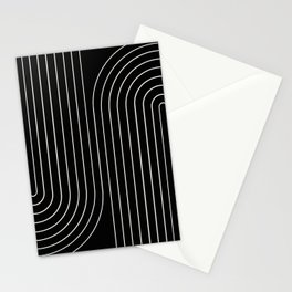 Minimal Line Curvature - Black and White II Stationery Cards