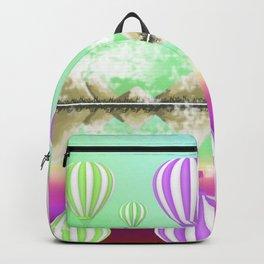 Pastel Hot Air Balloons Over Lake Digital Drawing Backpack