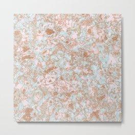 Mint Blush & Rose Gold Metallic Marble Texture Metal Print