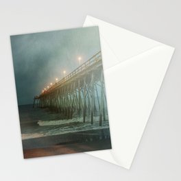 Kure Beach NC Fishing Pier at Night Painterly Stationery Cards