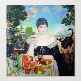 MERCHANT'S WIFE AT TEA - BORIS KUSTODIEV Canvas Print