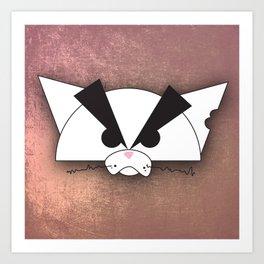 Crabby Cat - white Art Print