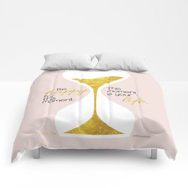 Gold Hourglass - Be Happy for this Moment Omar Khayyam Persian philosopher quote print Comforters
