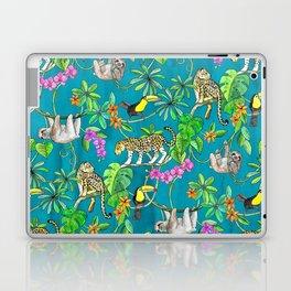 Rainforest Friends - watercolor animals on textured teal Laptop & iPad Skin