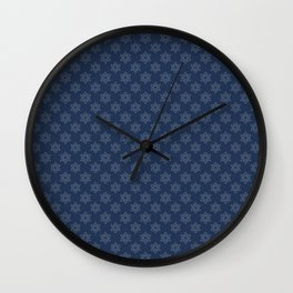 Hand painted navy blue Christmas snow flakes motif Wall Clock