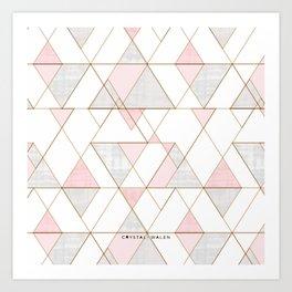 Mod Triangles - Gray + Blush Art Print