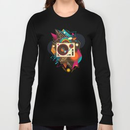 Goodtime Party Music Retro Rainbow Turntable Graphic Long Sleeve T-shirt