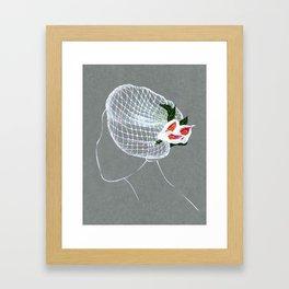 Wedding Veil : traditional fine jewelry hand rendering Framed Art Print