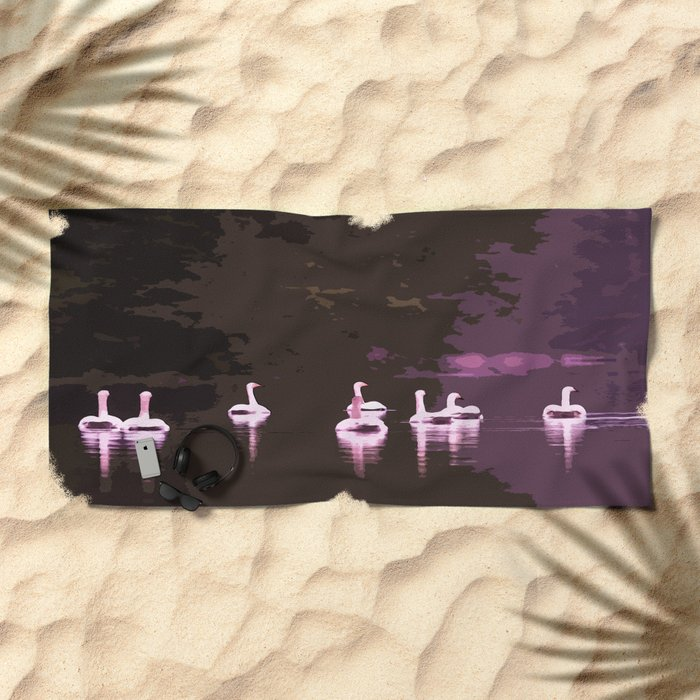Beautiful reflection in the lake surface - shades of light pink to dark Beach Towel