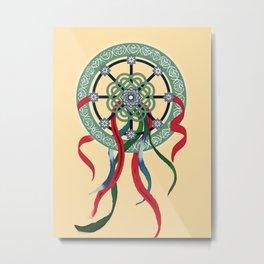 Mandala with Ribbons Metal Print