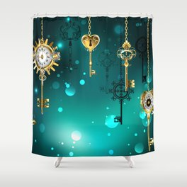 Antique Keys on Green Background ( Steampunk ) Shower Curtain