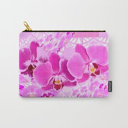 CERISE PINK ORCHID FLOWERS  WHITE PATTERN ABSTRACT Carry-All Pouch