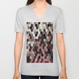 Hexagon Pattern In Gray and Burgundy Autumn Colors Unisex V-Neck