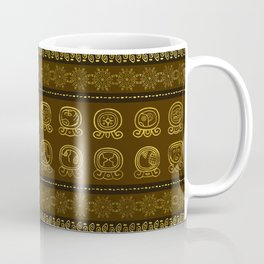 Maya Calendar Glyphs pattern Gold on Brown Coffee Mug