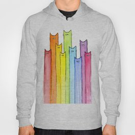 Cat Rainbow Watercolor Pattern Hoody
